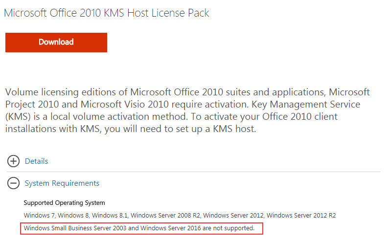 Windows Server 2016 – Office 2010 KMS Activation – benecke cloud