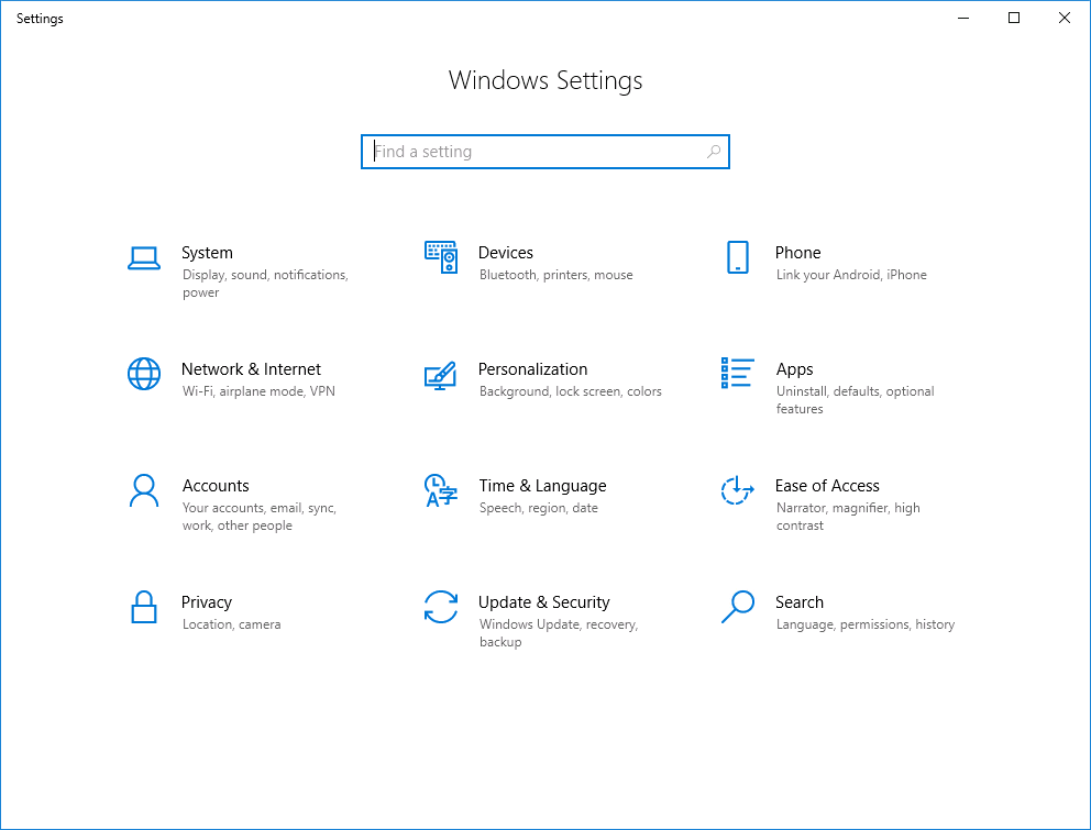 Windows 10 – Modify Settings Page – benecke cloud